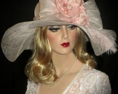 FEMME PINK & IVORY Kentucky Derby Hat, Wide Brim Pink And Off White Sinamay Derby Hat With Large Bow, Pink Derby Hat, Pink Tea Party Hat