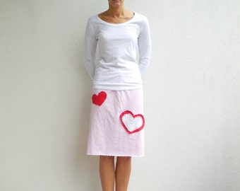 TShirt Skirt Women's Tee Skirt Heart Skirt Knee Length Skirt Cotton Skirt Gift For Her Handmade Skirt  Spring Summer ohzie