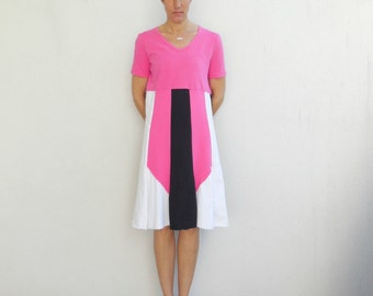 T-Shirt Dress Womens Dress Casual Tee Dress Cotton Dress Summer Dress White Black Hot Pink T-Shirt Clothing Spring Dress ohzie