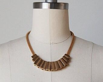 vintage mesh necklace / gold mesh necklace / gold key necklace / Octave necklace