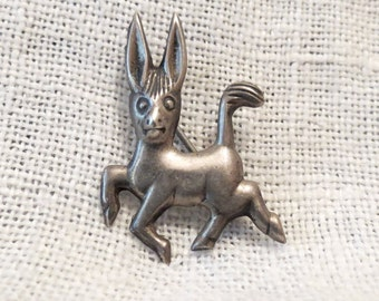 Jumping Donkey Sterling Mexico Brooch Pin
