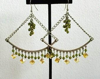 Green & Yellow Earrings >> Statement Earrings, Geometric Earrings, Large Earrings, Swarovski Earrings, Gypsy Earrings, Boho Earrings, OOAK