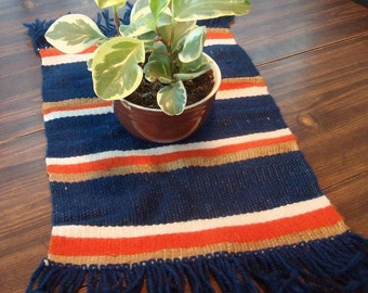Vintage table scarf hand woven in the early 1970s.