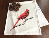 Cardinal Redbird Flour Sack Towel - Deluxe Natural Tea Towel - Hand Screen Printed - Perfect for the bird lover
