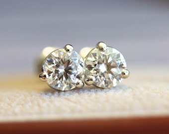 6mm Moissanite white gold stud earrings, 3 prong  pair of studs