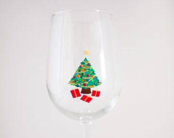 Christmas Tree - Hand Painted Wine Glass - Christmas Wine Glass - Holiday Gift - Minimalist Design - Holiday Barware - Chardonnay Glass