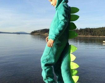 Dinosaur Halloween Costume Turquoise Dino kids costume full suit with long tail, spines and hood for boys, girls, toddler, children