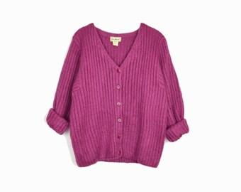 Vintage Raspberry Mohair Cardigan Sweater by L.L. Bean - women's medium