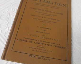 FRENCH TEXT BOOK - Methode D'elocution et de Declamation - Antique 1902