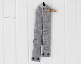 camera strap cover, yarn dyed grey linen blend DSLR camera strap cover gift lens cap pocket