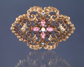 Vintage 1928 Brooch, Wedding, Jewelry, Pin, Rhinestone, Filigree Floral, Jewellery, Blue, Pink, Classic Lolita