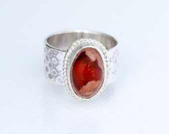 Mexican Fire Opal Ring in Sterling Silver Size 7.5
