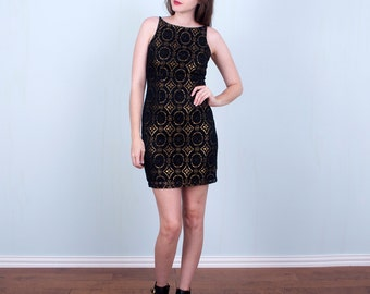 Black & Gold Mini Dress 90's Metallic Lace Body con Dress / Small