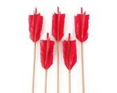 Vintage Flu Flu Arrows / Red Feathers / Pre Selected Set of 5