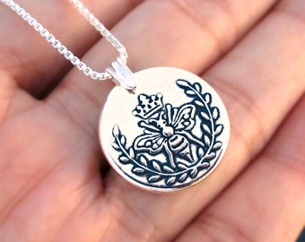 Queen Bee necklace Sterling Silver jewelry pendant crown Silver necklace Silver pendant Bee jewelry gift for her Wax seal  N-156