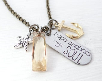 Hope Anchors my Soul. Hebrews 6:19.  Hand stamped, Charm Necklace. Christian, Nautical, Motivational, Inspirational Jewelry.