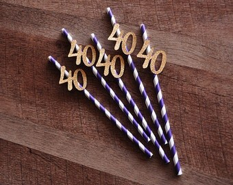 40th Birthday Decoration Straws 10CT.  Ships in 2-5 Business Days. Purple Straws with Gold 40.