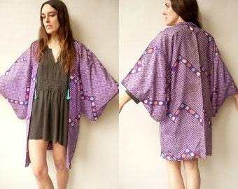 Vintage Purple Shibori Pattern Japanese Kimono Duster Jacket Haori -As Is