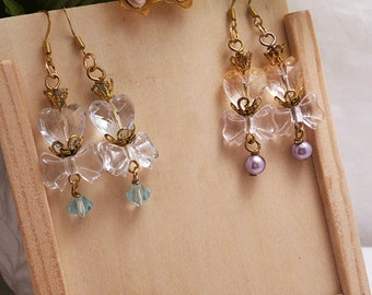 Set of 3 gold/silver plated earring styles (studs/dangles) in pink and blue shades collection