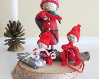 Vintage Wooden Elf Pixie Tomte family made by Lars H Denmark