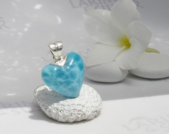 Larimarandsilver pendant, Lovely Mermaid 1 - aquamarine Larimar heart, sea blue heart, aqua teal heart, turtleback, handmade Larimar pendant