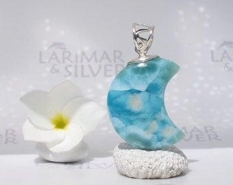 Larimarandsilver pendant, Nympheas in the Moon - Monet painting lookalike Larimar moon, blue moon, peacock blue, handcrafted Larimar pendant