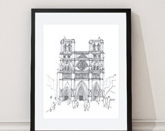Notre Dame Cathedral Paris Print - Architectural Print - Paris Architectural Wall Art - Architectural Drawing - Grey - Aldari Art