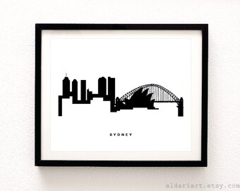 Sydney Skyline Print - Cityscape Print - Sydney Australia Wall Art - Sydney Skyline Print - ModernDecor - Aldari Art