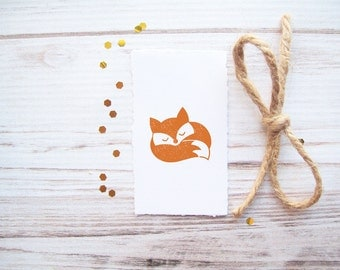 Fox Stamp , Sleeping Curled Up Fox , Woodland Autumn Fall Forest Rubber Stamp