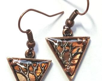Double Branch Copper Earrings