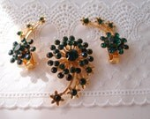 1940s Green & Gold Shooting Star Comet Brooch and Earrings set...ear climber clips