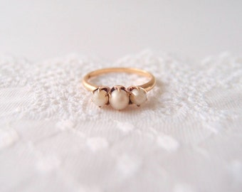 antique Victorian Pearl ring 14k Rose Gold ...size 6