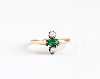 Antique Victorian 10k Rose Gold Garnet Doublet and Moonstone Ring - Vintage Late 1800s Size 6 3/4 Green & Clear Stones Navette Fine Jewelry