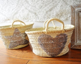 February Trend- Kids Basket Panier Silver-great for Storage, nursery, beach, picnic, holiday, Marrakech Basket Bag