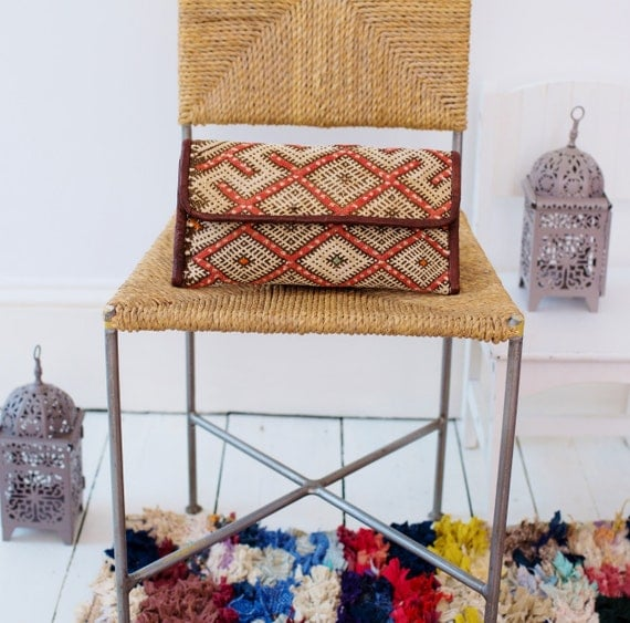 Christmas Gifts Ideas, Moroccan Brown Red Kilim Hand Clutch with Shoulder Straps Berber style-bag, tote, handbag, purse