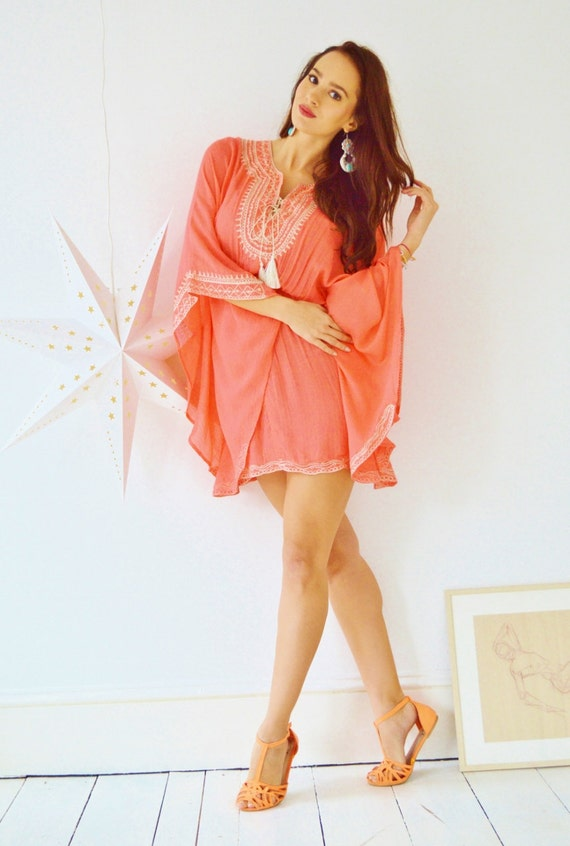 Salmon Pink Embroidery beach weddingTunic Cover up-holiday wear, beachwear, beach wedding, maternity, shirt, gifts