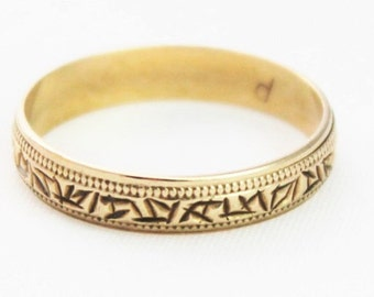 Vintage Ladies Wedding Band Ring Patterned Yellow Gold 9kt 9ct 375 | FREE SHIPPING | Size P.5 / 8