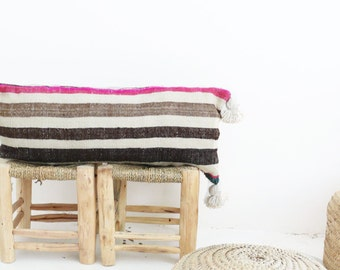 VINTAGE Moroccan POM POM Pillow Cover - Stripes