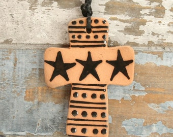 Star Cross Ornament Red Clay Two Sided Hand Made and Decorated Earthenware Ornament