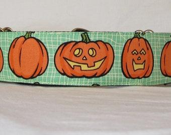 SALE Jack-O-Lantern Dog Collar - 1.5 or 2 Inch - fun halloween trick or treat orange pumpkin green boo