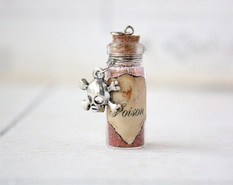Poison glass potion vial necklace