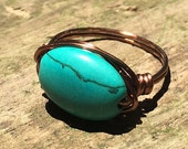 size 9.25 , 9 1/4 - turquoise green teal Howlite stone , antique copper wire wrapped ring - gemstone wrap men women unisex jewelry rustic