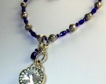 Large Crystal Pendant on Cobalt Blue and Silver Necklace