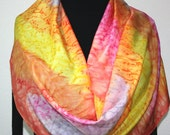 Silk Scarf Hand Painted. Coral, Pink, Yellow Hand Dyed Silk Shawl  CANDY RAINBOW. Large 14x72. Birthday Gift, Bridesmaid Gift.Gift-Wrapped.