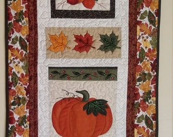 Autumn Wallhanging, Pumpkin Quilt, Fall Wallhanging,  Embellished Art Quilt, Heirloom Quality, Fall Decor, Quiltsy Handmade
