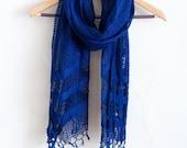 Dark Indigo - Handwoven Windowpane Fair Trade Silk Scarf
