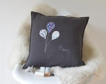 New Baby Gift - Keepsake Cushion - Personalised Baby Gift - Charcoal Linen - Scandi Decor - Christening Gift - Monochrome - Baby Shower Gift