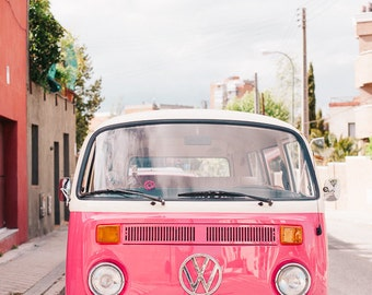 Pink Car Photo, VW Van Print, Retro Style, Travel Photography, Vintage Style, Van Photo, Hot Pink, Vintage Car Print, Retro Car Photograph