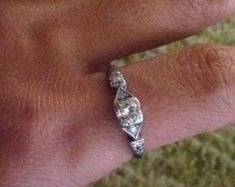 Fine diamond and platinum engagement ring