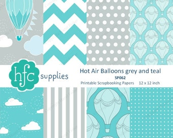 Printable Hot Air Balloon Papers grey & teal - digital scrapbook paper, balloons, clouds, chevron, spots, stripes - Instant Download SP062